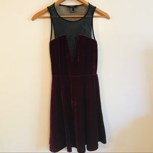 Forever21 Dark Maroon Dress With See Through Back